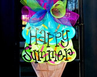 Ice Cream Summer Wreath | Summer Door Hanger | Ice Cream Door Hanger | Ice Cream Party Decorations | Wreath for Front Door