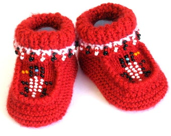 Knitted Beaded Bird Moccasin Booties, Red Beaded Baby Moccasin Booties, Knitted Baby Booties, Baby Beaded Bird Moccasin Booties