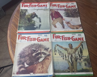 Set Lot Of 4 Fur Fish Game Hunting Magazines 1945 January Feb March April