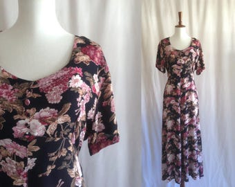 Vintage 90s floral maxi dress / navy blue and pink