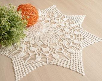 """SALE 25% OFF: Large crochet doily White elegant lace doilies Table decor Crochet centerpiece Large lace doily Home decor 22"""" doily 256"""
