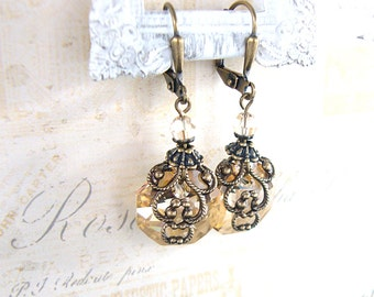 Champagne Crystal Earrings - Neo Victorian Vintage Inspired Swarovski Crystal Bronze Golden Antiqued Brass Filigree Renaissance Jewelry