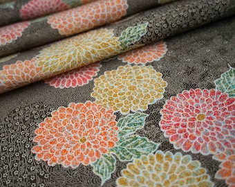 Dahlia Blossoms on Olive Green // Japanese Kimono Fabric // NEW // Last Piece!