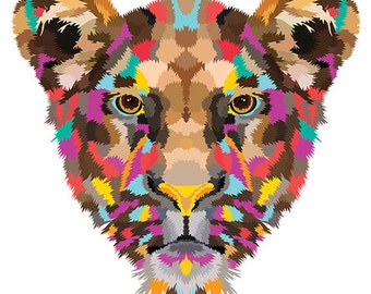 Lioness. Cross Stitch pattern, Digital Download PDF. Geometric lioness design with beautiful colorful patches in her fur. Bright and Modern