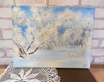 Winter Landscape Original Handmade Oil Painting Snowy Forest Impressionism painting Fine Art Home Decor Christmas themed