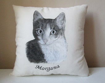 personalized cat throw pillow kids bedroom decor couch sofa bed decorative pillow 13x13 animal art painted cushion of your pet