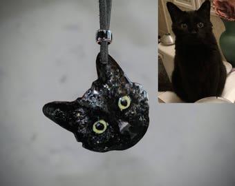 Custom Cat Necklace/Cat Necklace/Black Cat Necklace/Personalized Cat Portrait/Enamel Necklace/Cat Pendant/Cat Lover Gift/Statement Necklace