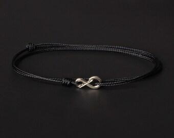 Men's Bracelet - Men's Black Bracelet - Men's Cord Bracelet - Minimalist Bracelet - Silver Bracelet Black Cord - Thin cord bracelet for men