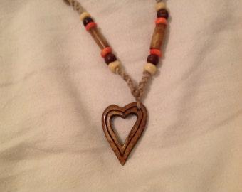 Heart hemp beaded necklace