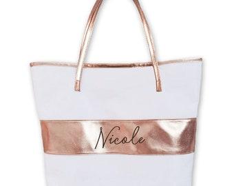 Rose Gold Tote Bag Rose Gold Bridesmaid Gift Bags Rose Gold Bridesmaid Tote Bags Personalized Bridesmaid Tote Bag (EB3175P)