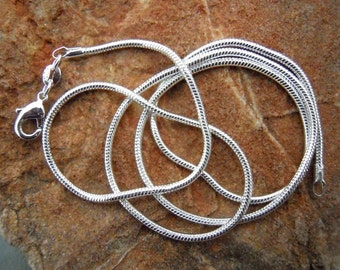 3 16 inch 2mm Silver plated Snake Chain  FAST SHIPPING