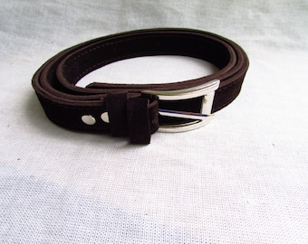 Brown suede leather belt, women leather belt, women suede belt, 2.5cm width belt, black leather belt, men leather belt, belt for women
