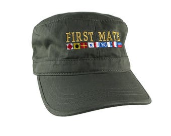 Nautical Flags Spelling First Mate Embroidery on an Adjustable Olive Green Unstructured Military Cadet Cap with Options to Personalize