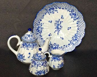 Child's 6 Pc. Tea Set – Hand & Heart Made In Thailand – Hand Painted Porcelain Blue on White