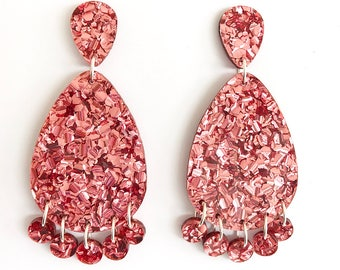 Super Lush Drop Earrings - Dusty Pink Riot - Laser Cut Glitter Drops - Each To Own