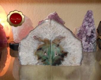 Agate Bookends, Green Agate Quartz Geode, Brazilian Quartz Agate Bookends, Quartz Geode, Natural Brazilian Quartz, Geode for Grid