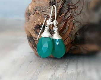 Green Onyx Sterling Silver Earrings, Green Gemstone Earrings, Wire Wrapped Drop Earrings