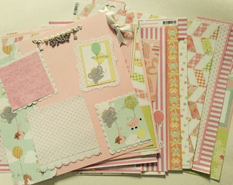 20 premade baby girl scrapbook pages 12 by 12 newborn baby girl scrapbook album gift for baby girl