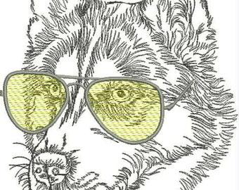 Embroidery Design, дизайн вышивки, on clothing, на одежде, wolf, волк, glasses, очки, predator, хищник, animal, животное, zoo, sun, солнце