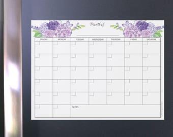 Pretty floral calendar magnetic, fridge dryerase, calendar whiteboard, fridge calendar, fridge dry erase, dry erase fridge, magnet monthly