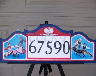 Custom Address Number Sign,Wall Decor,Porch Decor,Outdoor Decorations,Personalized Home Decorative Art,Folk Dancing Art, Polish Eagle Sign