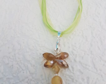 """18"""" long Beautiful brown dragon fly on a 4 strand green necklace"""