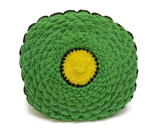 Vintage Green Crochet Flower Pillow.