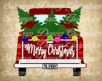 Christmas Svg, Christmas truck svg, silhouette, cricut, decal, vinyl, htv, Christmas tree, vintage truck svg, antique truck svg,digital file