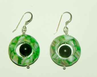 Green shell hoops and green aventurine sterling silver earrings