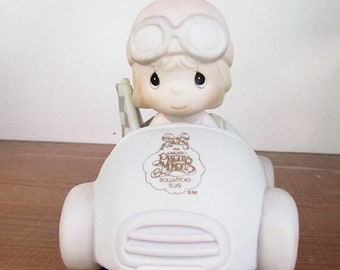 SPRING SALE - Precious Moments 10 Years and Still Going Strong, Little Girl Race Car Driver, Enesco, 1990, Collectors Club Exclusive 10th An