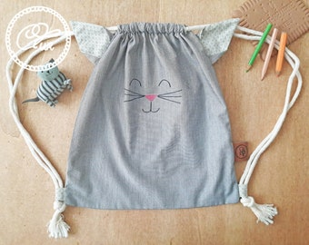 Kids cat drawstring backpack back to school toddlers
