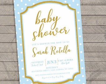 Gold Baby Blue Polka Dot Baby Shower Invitations , gold, glitter, blue, baby blue, polka dots, digital, print
