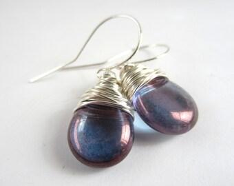 Purple Amethyst Earrings February Birthstone Earrings Wire Wrapped Jewelry Handmade Bridesmaid Jewelry Gift