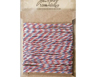 Airmail Twine by Tim Holtz Idea-Ology, Paper String Twist Twine, 10 Yards Red White and Blue Twine