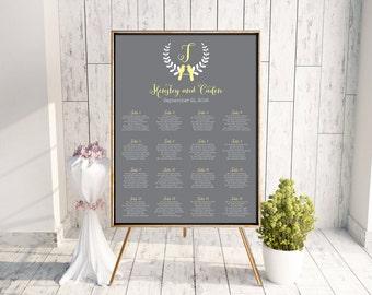 Love Bird Seating Chart, Wedding Seating Chart, Printable Seating Chart, DIY Seating Chart, Seating Chart PDF, Monogram, Yellow, Kensley
