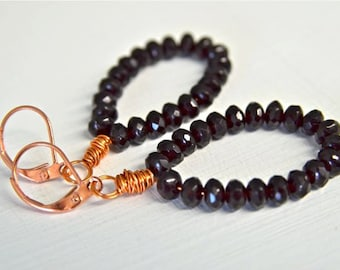Copper and Garnet Glass Earrings January Birthstone Long Earrings