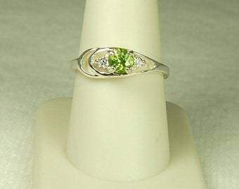Peridot Ring, Size 7, Bright Green, White Topaz Accents, Dazzling Sparkle, August Birthstone, Green Peridot, Natural Peridot