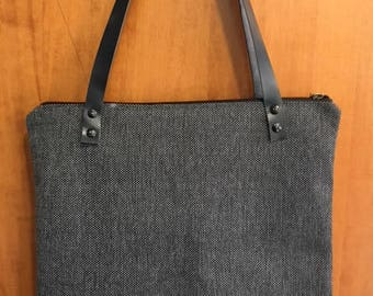 handmade fine mat tote bag with leather straps