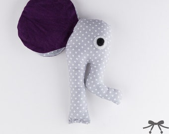 Elephant Rattle, Baby Rattle, Soft Rattle, Baby Toy, Baby's First Rattle, Rattle, Grey, Lilac