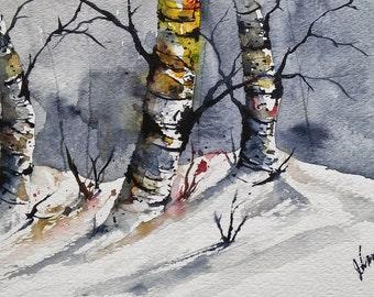 ORIGINAL painting watercolor painting original WATERCOLOR Birch Tree Art/jim lagasse/watercolor original/BIRCH trees