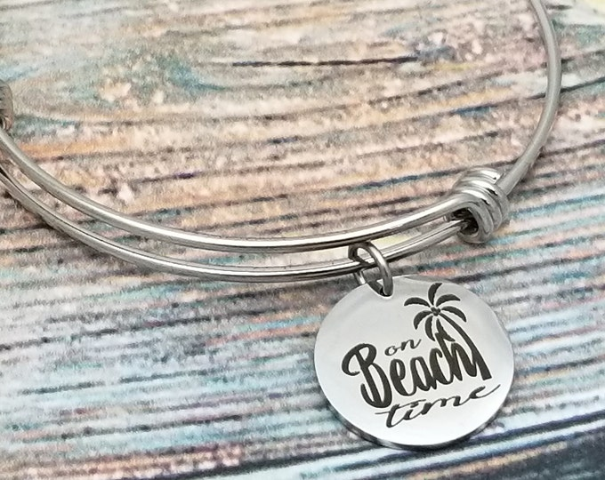 On beach time Customizable Expandable Bangle Charm Bracelet, choose your charms, create your style, design your bracelet,