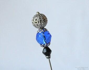 Blue, Black, Czech Glass, Silver Filigree, Stick Pin, 3-Inch, Hat Pin, Lapel Pin, Hijab Pin, H0339