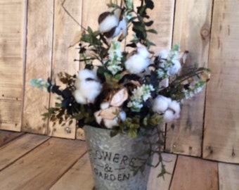 Cotton Arrangement-Farmhouse-Primitive Country-Table-Shelf.