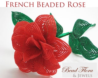 Sweetheart Rose French beaded flower tutorial and pattern - pdf