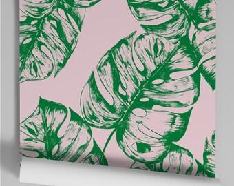 Wallpaper pink Monstera
