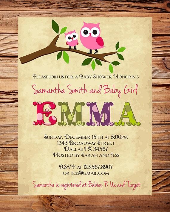 Owl Baby Shower Invitation Baby Shower Invite Girl