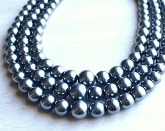 Rae - Gunmetal Pearl Statement Necklace