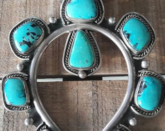 Vintage Native American Navajo handmade sterling silver and turquoise Squash Blossom