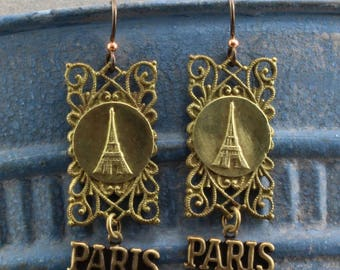 Handmade Earrings   Vintage French Victorian Eiffel Tower Filigree Stamping With Paris Tag Below French Hooks Oscarcrow 2 inches long