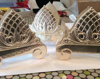 Italy Sheffield Set of Silver Plated Ornate Pineapple Design Silverware Holders, Knife holder, Fork and Spoon Holder